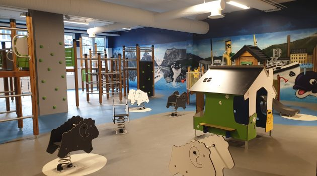 Indoor play area featuring climbing toys and play furniture for children.