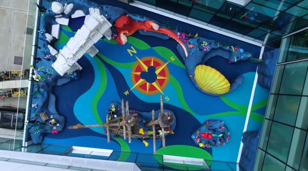 Overhead image of an under the sea themed indoor playground area.